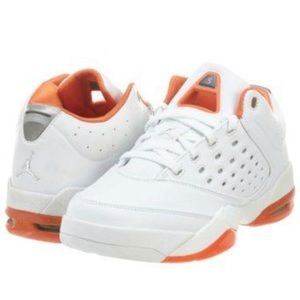 """Jordan"" melo 5.5 low air white & orange sneakers"